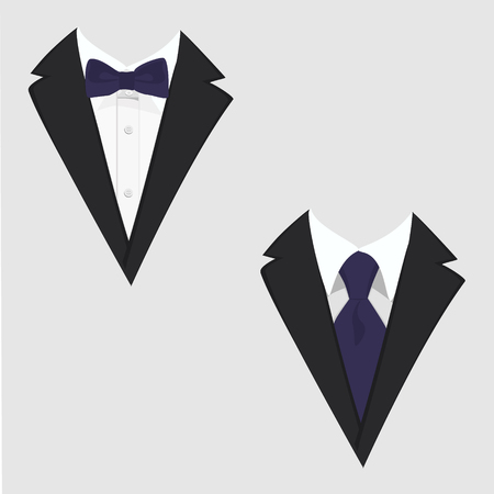 Mens jackets. Tuxedo. Wedding suits with bow tie and with necktie. Raster illustration