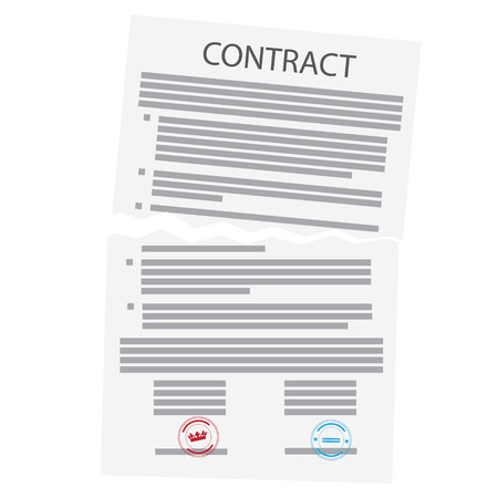 Agreement cancellation, torn paper sign.  Contract liquidation concept
