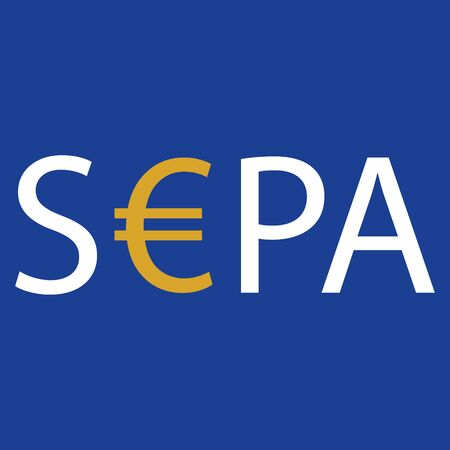 SEPA - Single Euro Payments Area sign isolated on blue background. Raster Standard-Bild