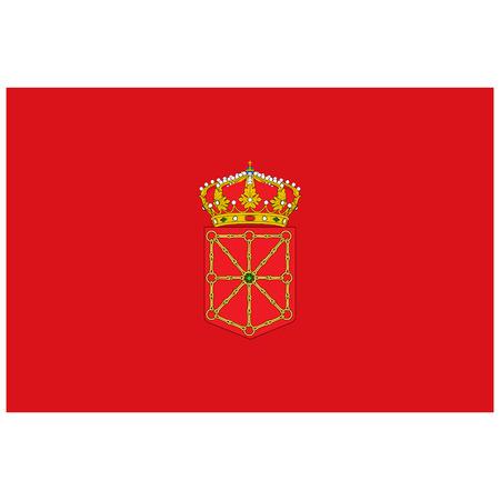Flag of Navarre or Navarra autonomous communities of Spain. Raster illustration. 스톡 콘텐츠
