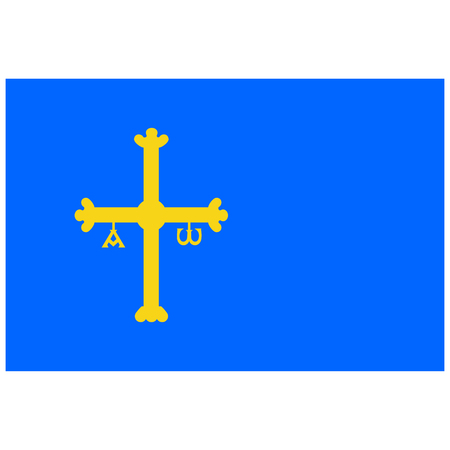 Raster flag of Spain autonomous community province Asturias. Coat of arms