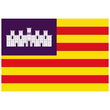 Flag of Balearic Islands archipelago of Spain. Raster illustration