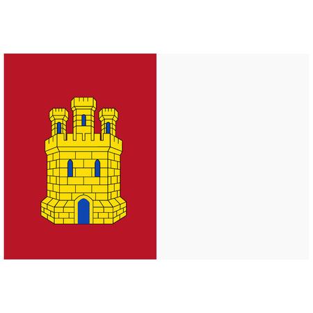 Flag of Castile-La Mancha or Castilla-La Mancha autonomous communities of Spain. Raster illustration.