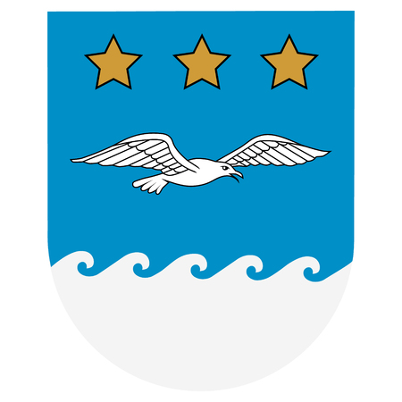 Flag of Jurmala city, Latvia. Coat of arms. Raster ilustration