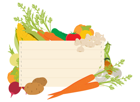 A wooden vegetables sign background surrounded by a border of fresh vegetables food produce