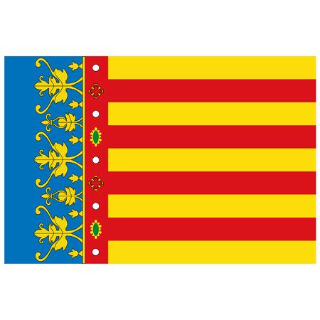 Drapeau raster de la Communauté valencienne - Communautés autonomes en Espagne Banque d'images