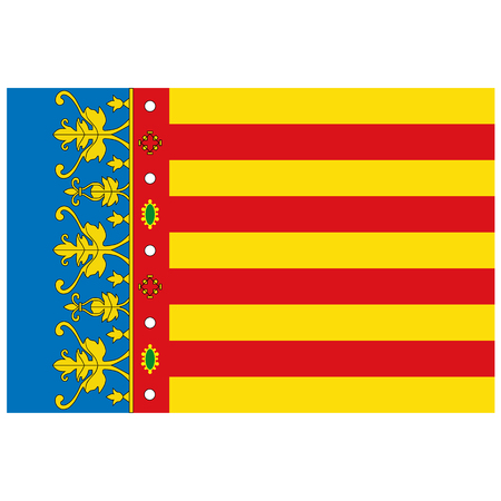 Raster Flag of Valencian Community - Autonomous Communities in Spain Stock Photo