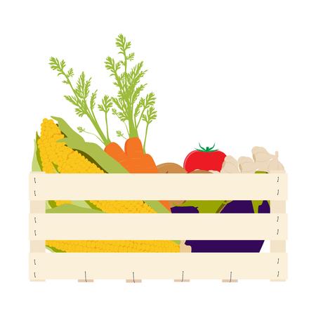 Raster illustration wooden box with vegetables food. Carrots, potatoes, tomatos, eggplants, garlic and golden corn Stock Illustration - 116457067