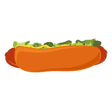 Big hot dog with salad, ketchup and mustard solated on white background. Raster illustration Standard-Bild - 116457119