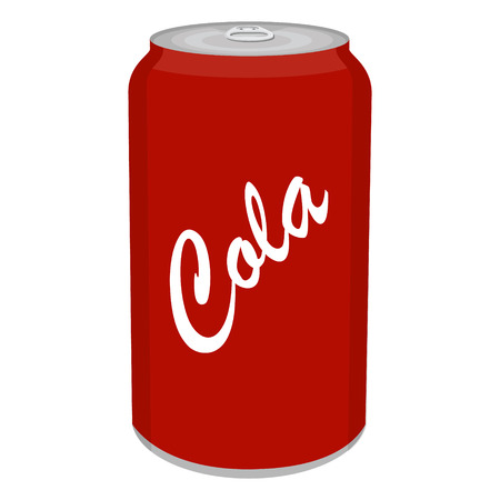 Refreshing cold soda iced soft drinks can isolated on white background. Raster illustration Stock Photo