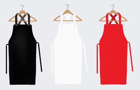 Grembiuli bianchi, rossi e neri, mockup di grembiule, grembiule pulito. Illustrazione raster
