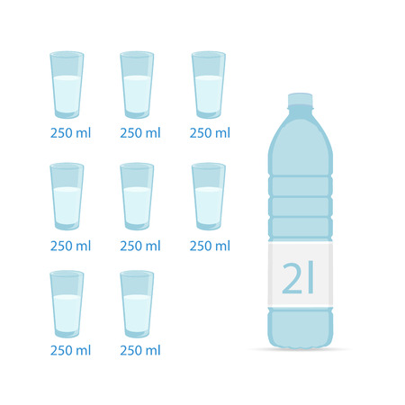 Bottle of water and eight glasses. Water balance health concept poster. Raster illustration Banque d'images