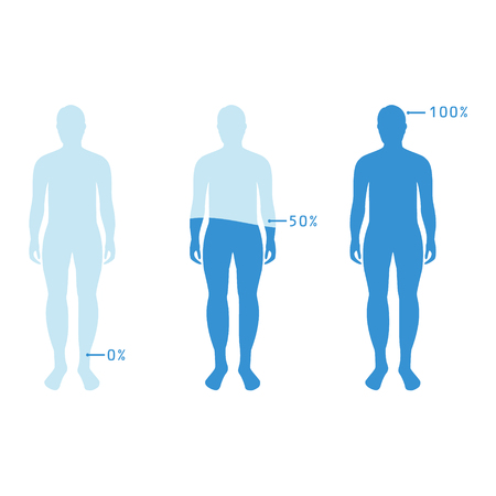 Infographic showing water percentage level in human body. Raster illustration Water balance. Imagens