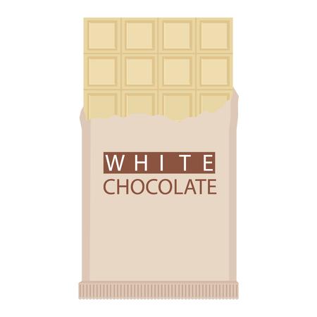 White chocolate bar. Raster illustration isolated on white background. Banco de Imagens