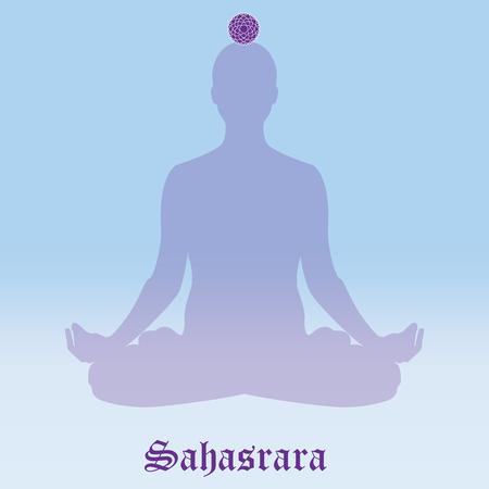 Raster illustration chakra Sahasrara. Silhouette meditating. Practicing yoga. Yoga lotus pose, wellness concept. Stock Photo