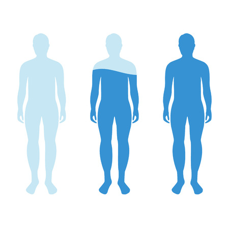 Infographic showing water percentage level in human body. Raster illustration Water balance. Stock Photo