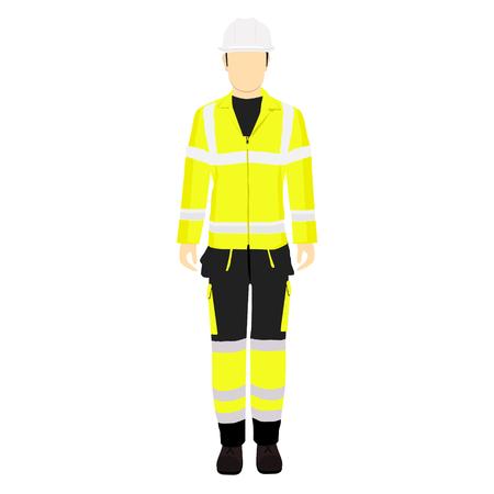 Trabajador de hombre en uniforme. Ropa de protección profesional, botas y casco de seguridad blanco.
