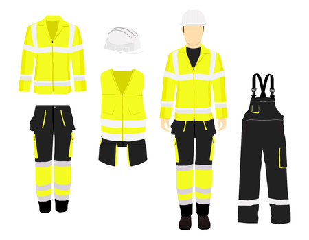 Man worker in uniform. Professional protective clothes, boots and yellow safety helmet. Various turns man's figure. Front view, side and back view. Foto de archivo
