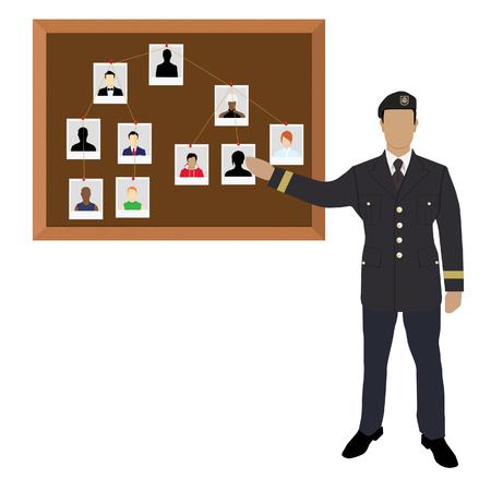 Policeman, soldier, captain with investigation board.Crime investigation concept Zdjęcie Seryjne