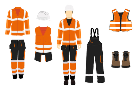 Man worker in uniform. Professional protective clothes, boots and  safety helmet. Various turns man's figure. Front view, side and back view. Standard-Bild - 116571115