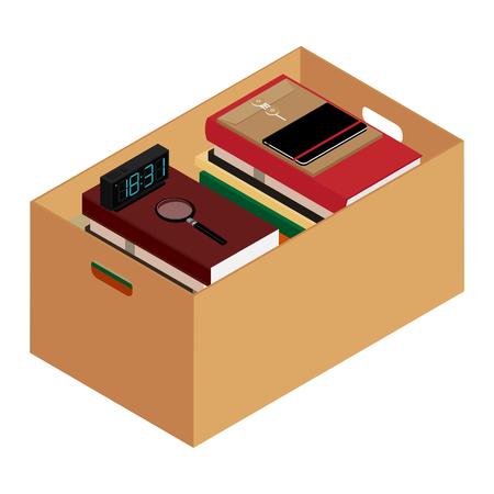 Box full of stuff. Moving office. Raster illustration