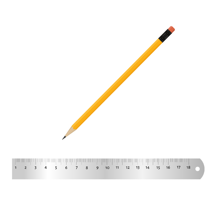 Realistic metal ruler 18 centimeters and metal ruler 7 inches. Pencil. Measuring tool. School supplies. Raster illustration