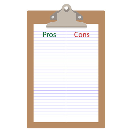Pros cons concept. Pros Cons list paper on clipboard. Raster illustration