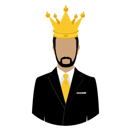 Like a king. Man businessman wearing suit in crown isolated on white background. King crown