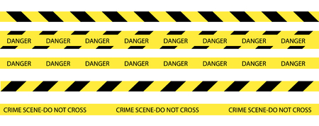 Raster set of seamless tapes. For restriction and dangerous zones. Yellow and black. Stock Photo