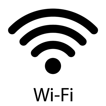 raster illustration flat design blue wireless icon. WiFi symbol, sign. WiFi 스톡 콘텐츠