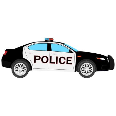 Raster-Darstellung. Seitenansicht des Polizeiautos lokalisiert auf weißem Hintergrund. Polizeitransport
