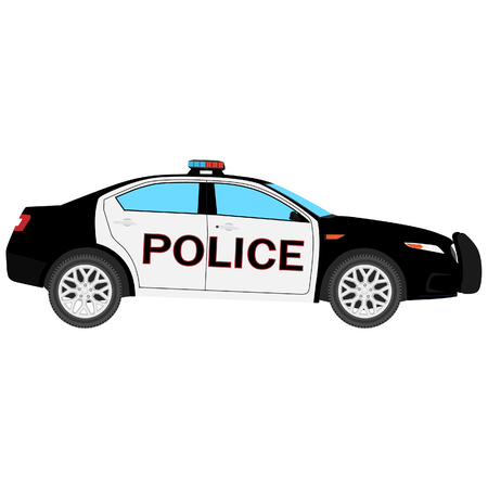 raster illustration. Police car side view isolated on white background. Police transport