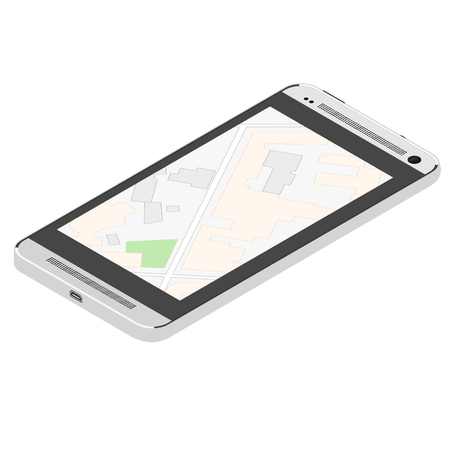 Navigation map. Map on phone, smartphone. Isometric raster illustration.  gps. Banco de Imagens