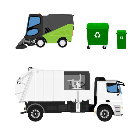 raster illustration. Realistic hi-detailed street sweeper,  garbage truck and container.
