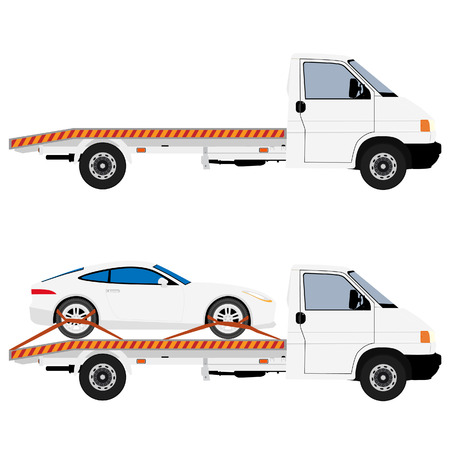 Tow truck delivers the damaged vehicle car. raster illustration. Isolated on white background.