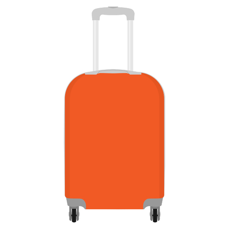 raster illustration of realistic large polycarbonate travel plastic suitcase with wheels isolated on white background. Art design traveler luggage. Abstract concept graphic element