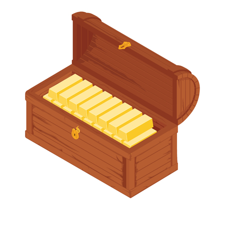 Old wooden chest with gold bars isolated on white background. raster illustration