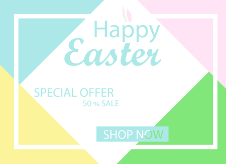 Easter sale banner background template with Easter rabbit
