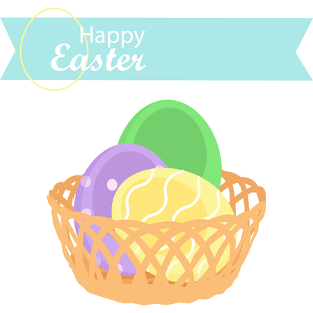 Happy Easter decoration. Decorated Easter eggs in wicker backet. Spring Holidays Illusztráció