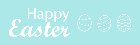 Hand written lettering illustration for happy easter banner, poster, sale invitation template with easter eggs