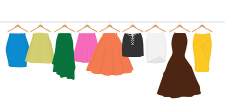 Womens High Waisted Street Skirt Skater Pleated Full Midi Skirts on the hanger. Colored skirts on hangers. Clothing for women and girls. Illustration