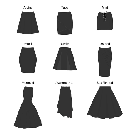 Set of different types of skirts. A-line, tube, mini, pencil, circle, draped, mermaid, asymmetrical and box pleated Ilustração
