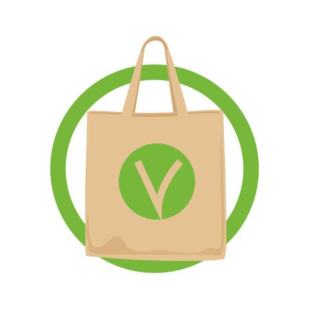 Eco Fabric Green Cloth Bag Tote Isolated on White Background. Care about the Environment.