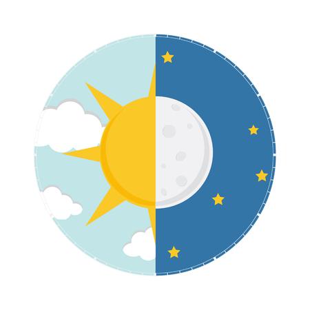 Vektorillustration von Tag und Nacht. Tag-Nacht-Konzept, Sonne und Mond, Tag-Nacht-Symbol