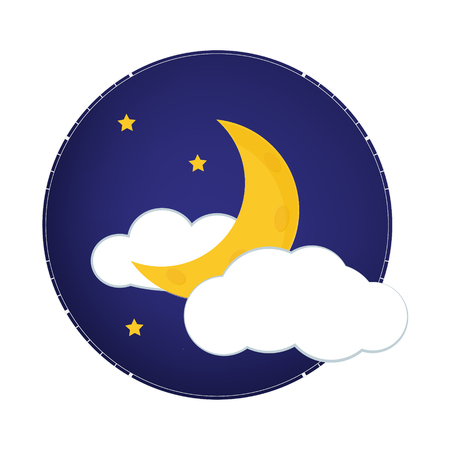 Mystical Night sky with half moon, clouds and stars. Moonlight night