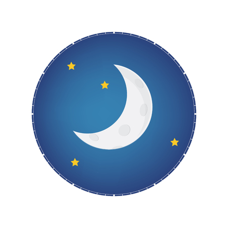Mystical Night sky with half moon and stars. Moonlight night Vectores