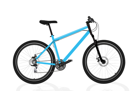 Nouveau vélo bleu isolé sur fond blanc