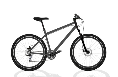 New grey bicycle isolated on a white background