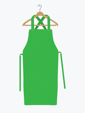 Green kitchen apron. Chef uniform for cooking vector template. Kitchen protective green apron for chef uniform Иллюстрация