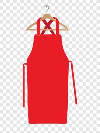 Red kitchen apron. Chef uniform for cooking vector template. Kitchen protective red apron for chef uniform